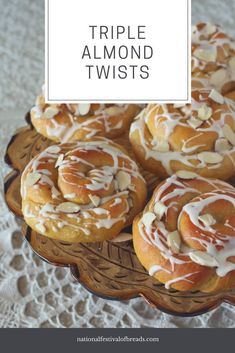 Triple Almond Twists | National Festival of Breads Breakfast Bread Recipes, Yeast Bread Recipes, Banana Bread Image, Easy Desserts, Delicious Desserts, Baking Desserts, Yummy Food, Honey Wheat Bread, National Festival