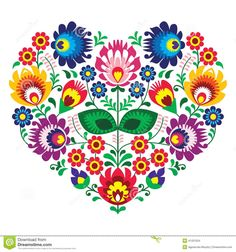 Polish Olk Art Art Heart Embroidery With Flowers - Wzory Lowickie - Download From Over 36 Million High Quality Stock Photos Images Vectors. Sign up for FREE today. Image: 41331024
