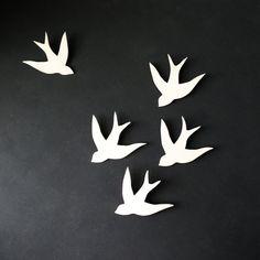 Wall art Swallows in Flight White Porcelain bird wall sculpture Modern Ceramic art for home decor wall decor set of 5