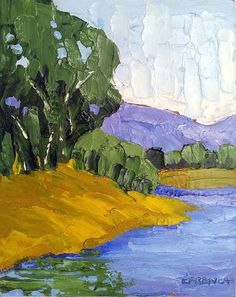 8x10 Original Painting CALIFORNIA RIVER BANK  Lynne French Art Landscape via Etsy
