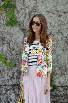 Our favorite fashion blogger mixes stripes with a floral print blazer! M loves M