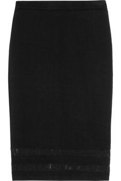 Karl Lagerfeld|Ashley mesh-trimmed stretch-jersey skirt|NET-A-PORTER.COM