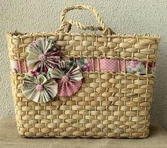 Sacola de palha decorada - Floral