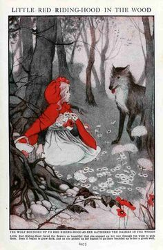 The one and only true red- (Red Riding Hood - vintage illustration - artist?)