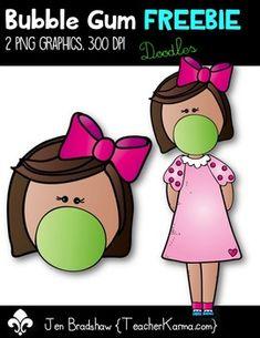 FREEBIE Bubble Gum Buddies KIDS Clip Art ~ Doodles
