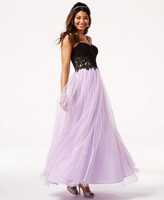 3c1d3df72c Blondie Nites Juniors  Colorblocked Appliqué Gown High Low Prom Dresses