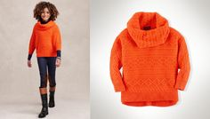 @Ralph Lauren girl orange knit slouchy sweater entirely made from soft cashmere: oversized cowl neckline, long sleeves with ribbed cuffs and ribbed hem. #orange #ralphlauren #FW13 #fall #winter #fallwinter2013 #children #kids #childrenwear #kidswear #girls #boys