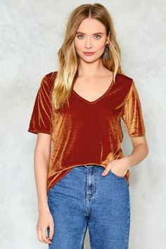 nastygal Get in Touch Velvet Tee http://shopstyle.it/l/mZlM #fashion #style #beauty #hair #makeup #outfit #winter #winterfashion #winteroutfit #sweater #jumper #jacket #coat
