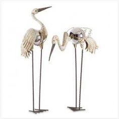 Crane Garden Stakes Silver Gazing Ball Metal Sculptures at Shopatusm