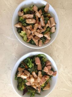 2-minute luscious lunch: leftover pan-fried pork scotch filet, grilled eggplant and steamed broccoli on a bed of lettuce and leftover flash-fried kale. Topped with a splash each of olive oil and apple cider vinegar and a sprinkle of turmeric, paprika, sea salt and pepper. -Bex