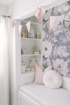 Kids Reading Nook With Removable Wallpaper Toddler Girl Room Makeover throughout Kids Reading Nook With Removable Wallpaper Girls Reading Nook, Reading Nook Closet, Closet Nook, Bedroom Reading Nooks, Bed In Closet, Kid Closet, Closet Mudroom, Closet Ideas, Playroom Closet