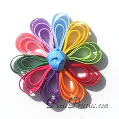 Daisy Ribbon Flower Hair Clip - blue scout flower