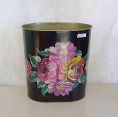 Your place to buy and sell all things handmade Vintage Tins, Vintage Metal, Vintage Black, Kitchen Trash Cans, Metal Containers, Metal Tins, Floral Motif, Black Metal, Vintage Christmas