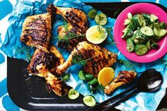 Masterchef judge and all-round Greek cuisine extraordinaire George Calombaris serves up a summer barbecue chicken dish that& hard to beat. Oregano Chicken, Nando's Chicken, Avocado Chicken, Glazed Chicken, Chicken Thighs, Chicken Salad, Peri Peri Recipes, Dinner Party Menu, Cucumber Recipes