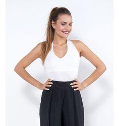 Ελαστικό Τοπ Κολάρο - Λευκό Basic Tank Top, Tank Tops, Women, Fashion, Moda, Halter Tops, Women's, Fashion Styles, Woman