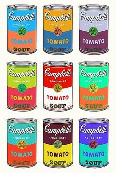 'Andy Warhol Campbell's soup cans pop art' Canvas Print by triptees Andy Warhol Marilyn, Andy Warhol Pop Art, Andy Warhol Soup Cans, Andy Warhol Prints, Warhol Paintings, Music Poster, Pop Art Poster, The Velvet Underground, Campbell Soup Art