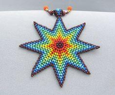 Semilla Beed arco iris estrella collar collar por HANWImedicineArt