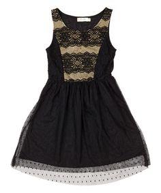 Black & Gold Lace Dress by Miss Me #zulily #zulilyfinds
