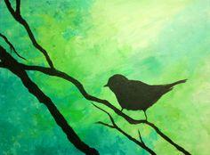 Bird painting, acrylic on canvas by JJ Nebolsky