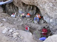 Ancient Oregon caves may upend understanding of humans in the Americas.  In Paisley caves in south-central Oregon, researchers uncovered pre-Clovis  artifacts and the oldest human DNA discovered in the Americas. Radiocarbon  dates show that people lived in the caves between 12,000 and 14,340 years ago  [Credit: University of Oregon Northern Great Basin Field School]