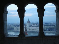 Hungarian Parliament as seen through windows in Fisherman's Bastion, Budapest