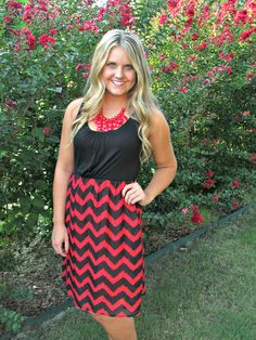 Red and black chevron dress; Hillary's Boutique