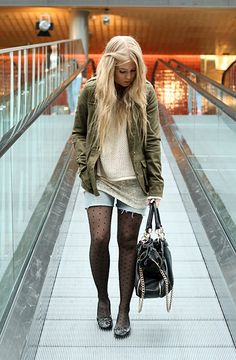 fashion - streetstyle - army green jacket and jean shorts with some nice boots of course!!