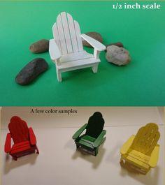 Adirondack Chair miniature dollhouse by TinyfrankMiniatures Adirondack Chairs, Outdoor Chairs, Outdoor Furniture, Outdoor Decor, Miniature Dollhouse Furniture, Dollhouse Miniatures, Art Ideas, Scale, Handmade Gifts