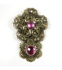 Brass Filagree Flower with Pink Accent Pin - Pendant. amykahnrussell.com