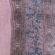 Pale pink lurex tichel with blue berry flowers, $8.50