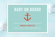 Baby on Board Baby Shower Invitations by ashley hegarty at minted.com / in aqua or blue