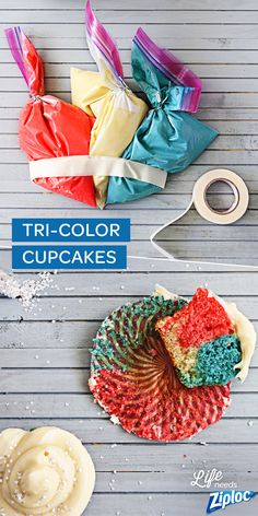 The easiest way to get marbled and swirled cupcakes! The red, white, and blue combo is perfect for Memorial Day, but the possibilities are endless. Try strawberry, chocolate, and vanilla, or your kid's school colors for a graduation party. Just fill Ziploc® bags with cake batter, tape together, snip the ends, and pipe into cupcake liners.