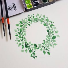 Watercolor Illustration Wreath • #watercolor #painting #illustration #flower #herb #doodling #color #practice #happytime #wreath #leaves…