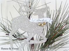 Hymns and Verses: Twas the Night Before Christmas Glitter Reindeer Ornaments