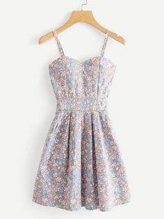 Shop Floral Print Cami Dress at ROMWE, discover more fashion styles online. Trendy Dresses, Simple Dresses, Cute Dresses, Vintage Dresses, Beautiful Dresses, Casual Dresses, Short Dresses, Party Dresses, Elegant Dresses