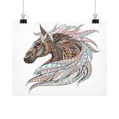 Equestrian Art - Ethnic Horse Head 2 - Horizontal Fine Art Prints (Posters)