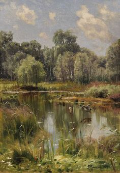 Dream Pictures, Art Pictures, Landscape Art, Landscape Paintings, Oil Painting Pictures, Art Easel, Russian Painting, Watercolor Trees, Beautiful Landscapes
