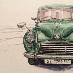 Моя первая в жизни нарисованная машина;)  // My very first drawn car!  #watercolor #kalachevaschoolonline #study #student #morris #car #painting #drawing #aquarelle #акварель #акварельонлайн #машина #авто #рисунок #kalachevaschool
