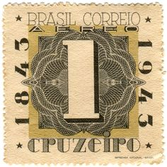 Brazil postage stamp, c. 1943, honoring 100 years of Brazilian stamps