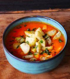 Receta Vegana de Sopa de Zanahoria y Jengibre con Papas Salteadas | CherryTomate