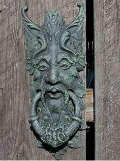 Large Green Man Cast Iron Door Knocker & Gate Keeper