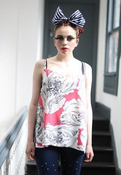 Pretty Disturbia striped floral slouchy vest co-ords vest from Pretty Disturbia £16