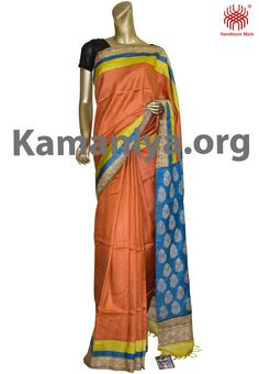 Description: This is a Handblock Printed Gachi Tussar silk saree with kantha work on the border.The Mannequin is wearing a blouse from our stylist's collection. Code No: S/DAF07 Visit our Website: http://kamaniya.org/