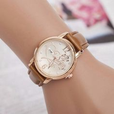 037fb0a8107 Religion Gold Alloy Case Leather Band Quartz Watch