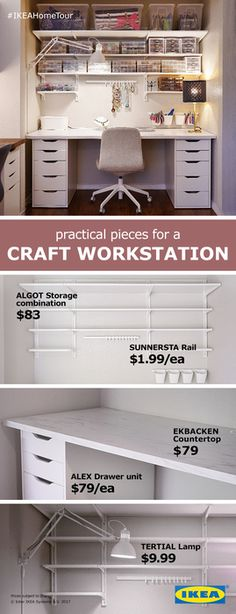 Practical pieces for a craft work station from the IKEA Home Tour Squad. The ALG.Practical pieces for a craft work station from the IKEA Home Tour Squad. The ALG. - ALG craft Home IKEA pieces Ikea Storage, Craft Room Storage, Storage Drawers, Office Storage, Bedroom Storage, Wall Storage, Closet Storage, Closet Drawers, Furniture Storage