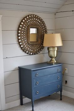 Peacock blue dresser - paint a vintage piece and place next to left side of FP