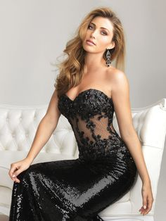 """Allure may have designed THE sexy little black dress with this """"Show Stopper"""" from their Night Moves collection. Drive the room wild with this strapless, corset-style bodice."""