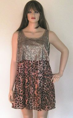 ac7f0e96a1 American Rag Cie Womens Sleeveless Animal Print Gold Sequin Short Party  Dress 1X