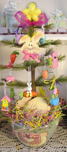 Bunnies, Bunnies Everywhere! Bunny Tree in teakwood bowl.