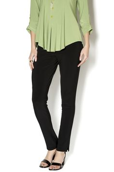 Black, travel friendly, narrow legged pant with a flat elastic waist and vented bottom, beautiful with longer tops in a varitey of fabrics and destined to be your go to narrow legged pant. Sympli Narrow Pant by Sympli. Clothing - Bottoms - Pants & Leggings Canada